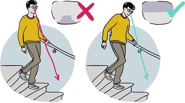 Marcher les escaliers avec des verres progressifs