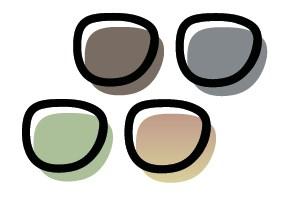 Zonneglazen in de kleuren grijs, bruin, max bruin/oranje en groen